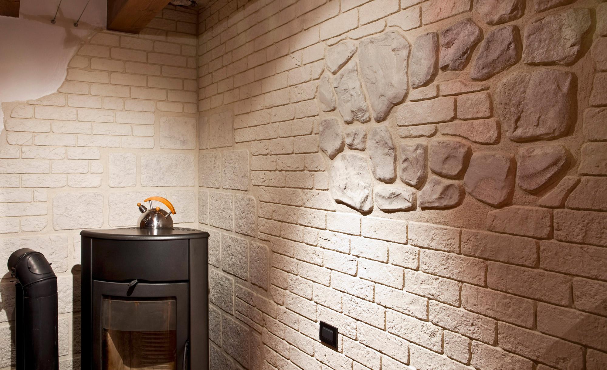 Muro stampato: intonaco effetto pietra mattoni e roccia ideal work