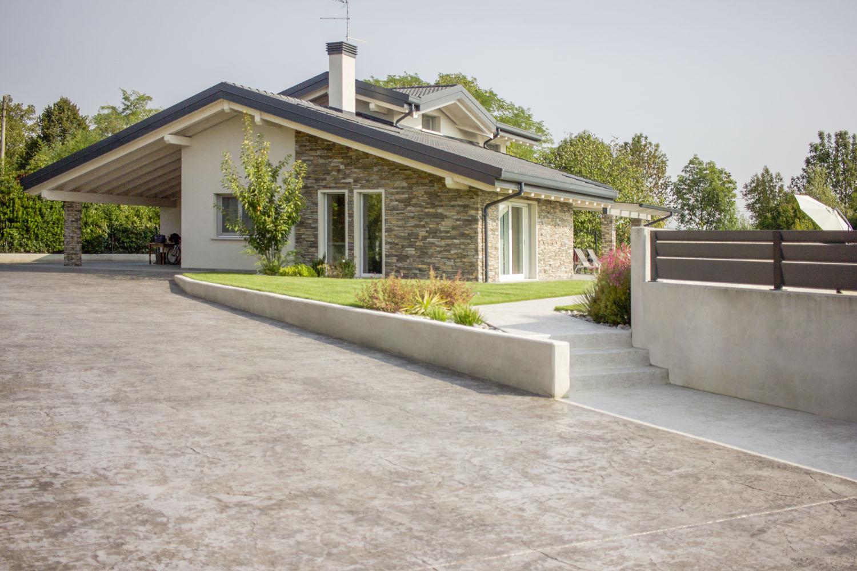 Ingresso Casa Esterno In Pietra pavimento in cemento stampato per esterni - idealwork